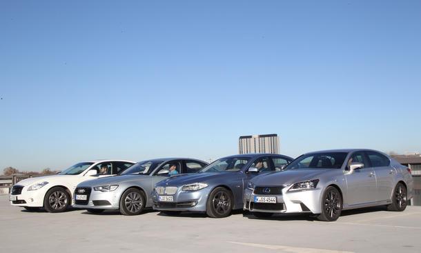 Vergleich Hybrid Limousinen BMW ActiveHybrid 5 Lexus GS 450h Audi A6 Hybrid Infiniti M35h
