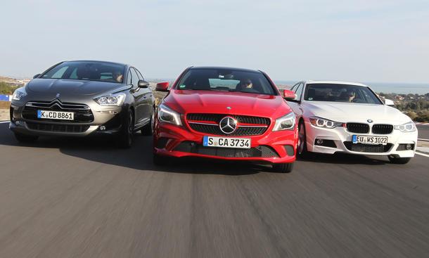 Mittelklasse-Vergleichstest 2013: Mercedes CLA, BMW 3er, Citroën DS5