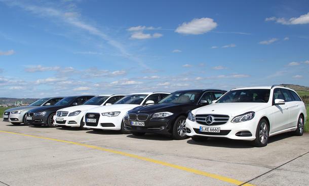 Mittelklasse und Oberklasse Kombis im Vergleich: Mercedes E-Klasse, C-Klasse, Audi A4, A6 und BMW 3er, 5er im Test