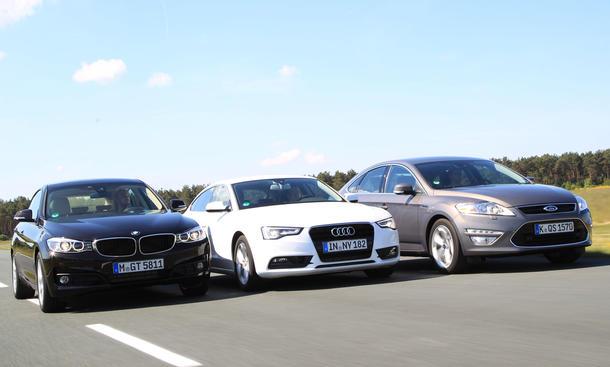 Mittelklasse-Vergleichstest 2013: BMW 3er GT, Audi A5 Sportback, Ford Mondeo