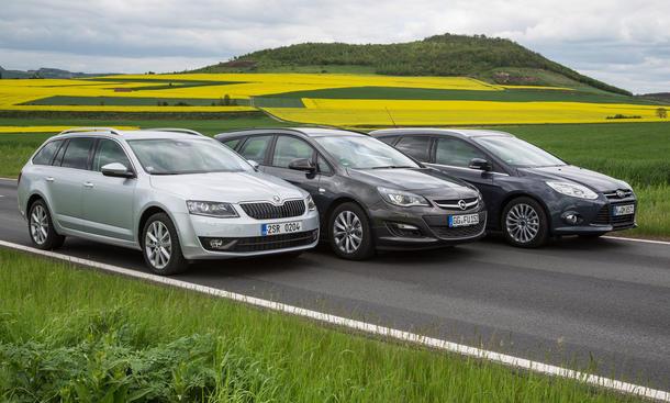 Kompaktkombis im Vergleichstest: Neuer Skoda Octavia Combi gegen Ford Focus Turnier und Opel Astra Sports Tourer