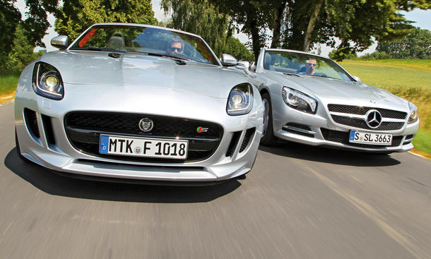 Roadster Vergleich Jaguar F-Type Mercedes SL 500 Sportwagen