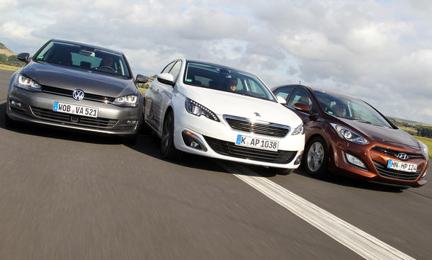 Kompakte Diesel im Vergleichstest: Peugeot 308 e-HDI FAP 115, Hyundai i30 1.6 CRDi, VW Golf BlueTDI