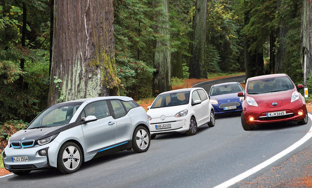 Elektroautos-Vergleichstest 2013: BMW i3, VW e-Up, Nissan Leaf, Ford Focus Electric