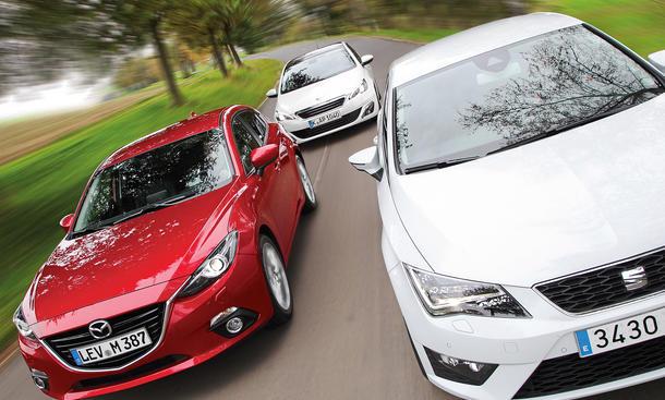 Kompaktklasse-Vergleichstest 2013: Mazda 3, Peugeot 308, Seat Leon
