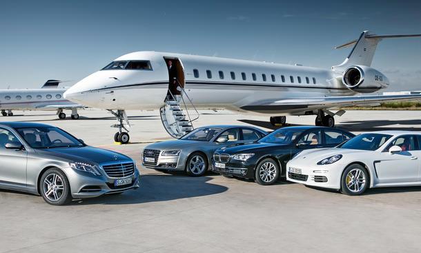 Neue Mercedes S-Klasse, Audi A8, BMW 7er, Porsche Panamera Luxuslimousinen-Vergleichstest