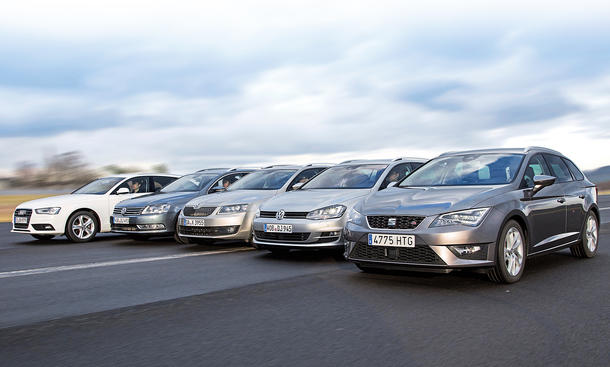 Diesel-Kombis-Vergleichstest 2014: Audi A4 Avant, Seat Leon ST, Skoda Octavia Combi, VW Golf Variant, VW Passat Variant