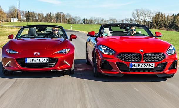 Cabrio Spaß: Mazda MX 5 im Test gegen BMW Z4