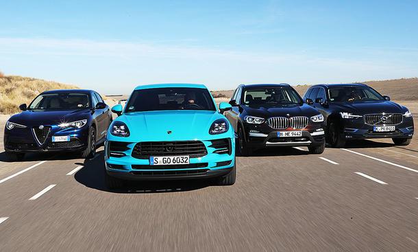 Alfa Romeo Stelvio 2.0 Turbo Q4/Porsche Macan/BMW X3 xDrive30i/Volvo XC60 T5 AWD: Test