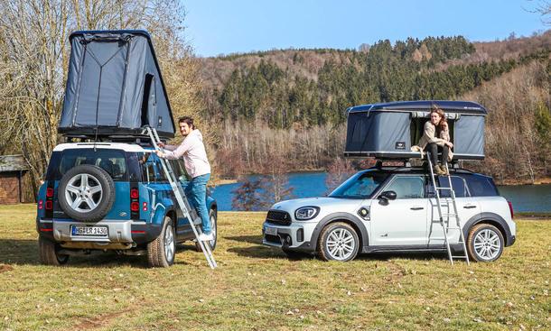 Land Rover Defender & Mini Countryman mit Dachzelten