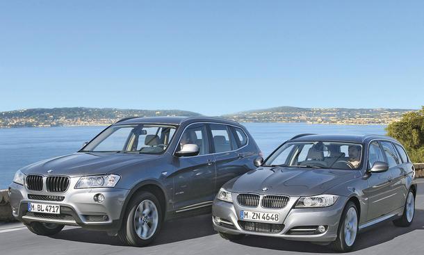BMW X3 und BMW 320d Touring mit einem Preisunterschied von 3.450 Euro