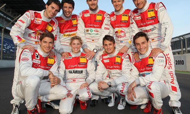 Audi-DTM Fahrerkader 2011 Eine Frau und acht Männer