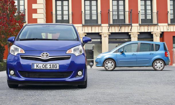 Bilder Vergleich Renault Grand Modus Toyota Verso-S Minivans
