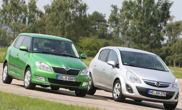 Opel Corsa und Skoda Fabia im Test