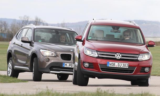 Markenvergleich 2012: BMW X1 sDrive18d gegen VW Tiguan 2.0 TDI