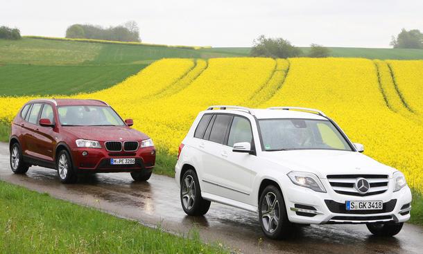 Vergleich Mercedes GLK Facelift BMW X3 Allrad