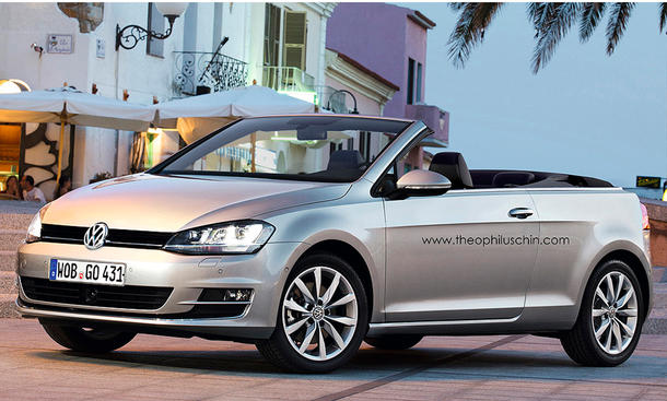 VW Golf VII Cabrio 2015 Entwurf Foto Photoshop Kompakt-Cabrio