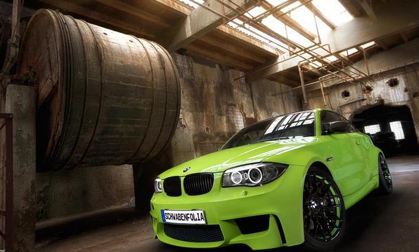 SchwabenFolia BMW 1er M Coupe Irie Green Folierung gruen Folie Tuning