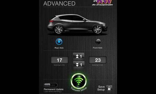 KW automotive Smartphone-App Luftfahrwerk Steuerung