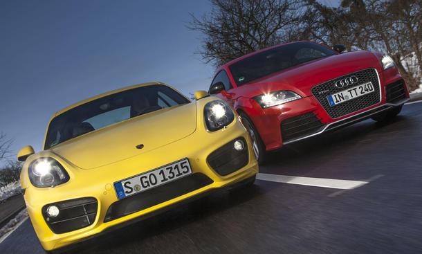 Bilder Audi TT RS plus Porsche Cayman S 2013 Sportwagen Vergleich