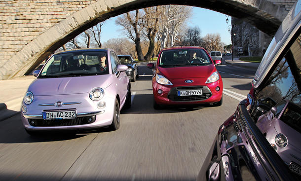 Bilder Fiat 500 0.9 TwinAir Ford Ka 1.2 2013 Vergleich