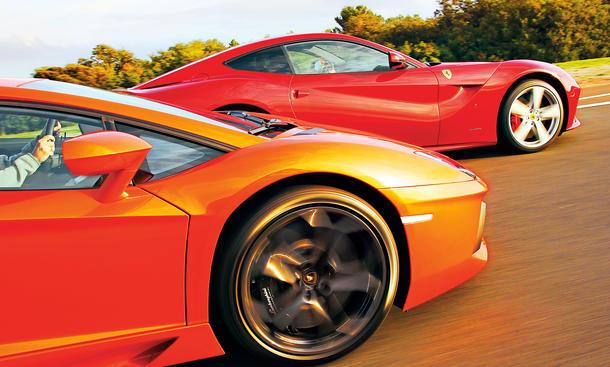 Ferrari F12 berlinetta vs. Lamborghini Aventador LP 700-4