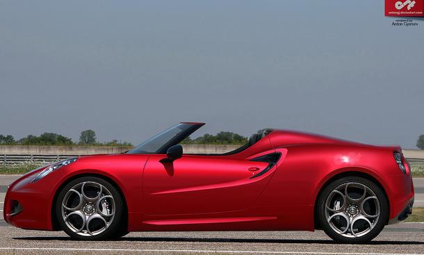 Alfa Romeo 4C Spider Roadster Photoshop Rendering Entwurf