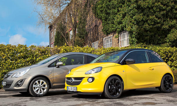Konzeptvergleich Opel Adam Corsa 1.4 ecoFLEX Kleinwagen gegen Kleinstwagen