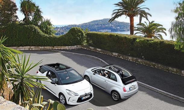 Vergleich Kleinwagen Cabrios Citroën DS3 Cabrio VTi 82 Fiat 500C 0.9 8V TwinAir
