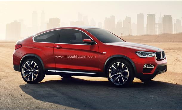 BMW X4 SUV-Coupé Dreitürer Photoshop-Zeichnung Rendering Theophilus Chin
