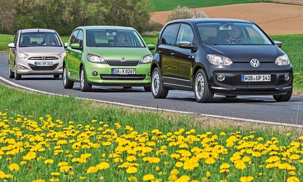 Marken-Vergleich Hyundai i10 VW Up Skoda Citigo Kleinstwagen Stadtauto