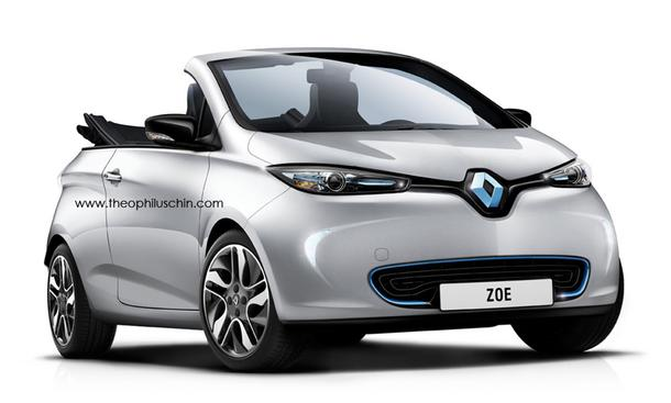 renault zoe cabrio computer zeichnung zeigt offenes. Black Bedroom Furniture Sets. Home Design Ideas