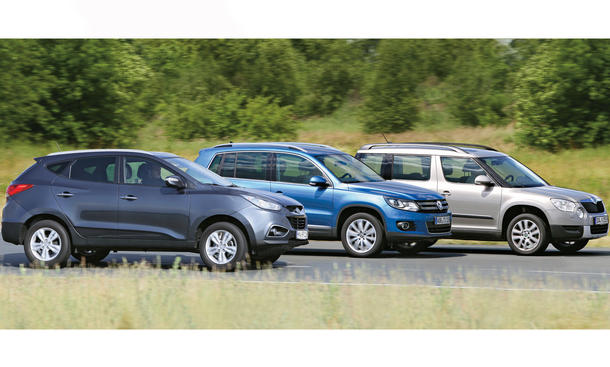 Vergleichstest Kompakt-SUV Hyundai ix35 Skoda Yeti VW Tiguan