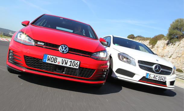 Vergleich Kompaktsportler Mercedes A 250 Sport VW Golf GTI Performance