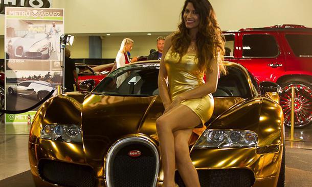 Bugatti Veyron 16.4 Tuning Flo Rida Rapper Superstar Folierung 2013 Chrom-Gold