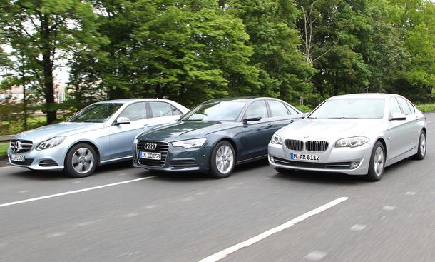 Spritvergleich Audi A6 BMW 5er Mercedes E-Klasse Test Benzin