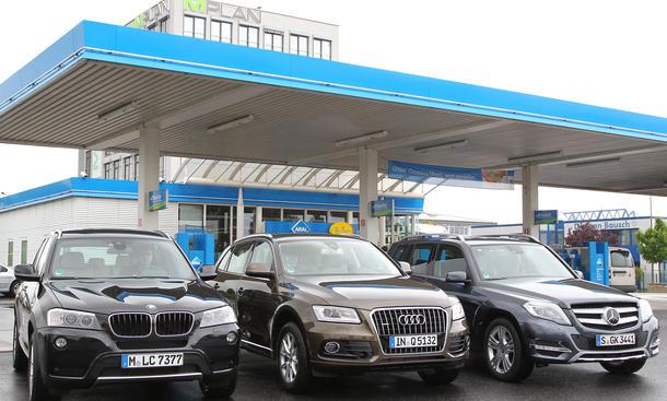 Verbrauchstest Audi Q5 BMW X3 MercedesGLK Vergleich SUV Benzin Bilder
