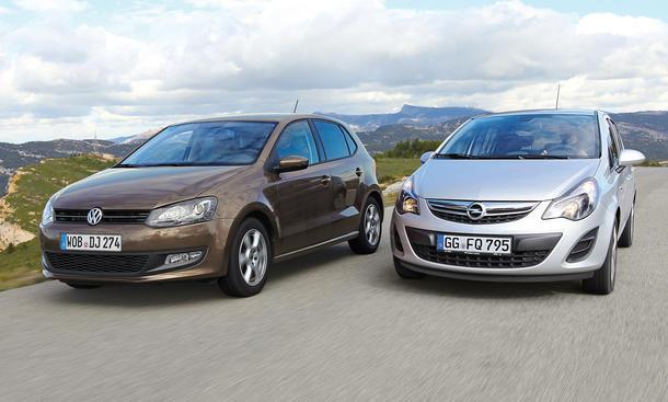 Markenvergleich Opel Corsa VW Polo Kleinwagen Bilder