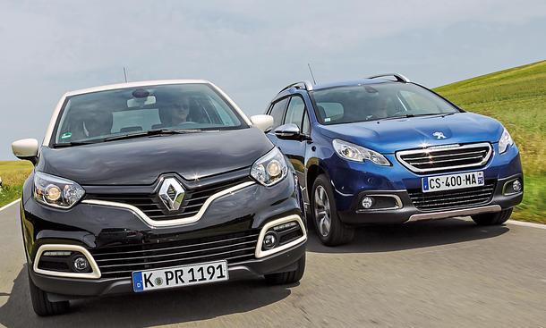 Bilder Peugeot 2008 120 VTi Renault Captur TCe 120 EDC 2013 Crossover Vergleichstest