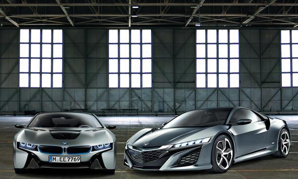 Bilder 2013 BMW i8 Honda NSX Hybrid Sportler Vergleich