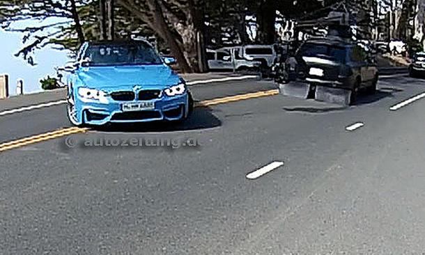 BMW M3 2014 Detroit Limousine ungetarnt tuerkis blau enttarnt