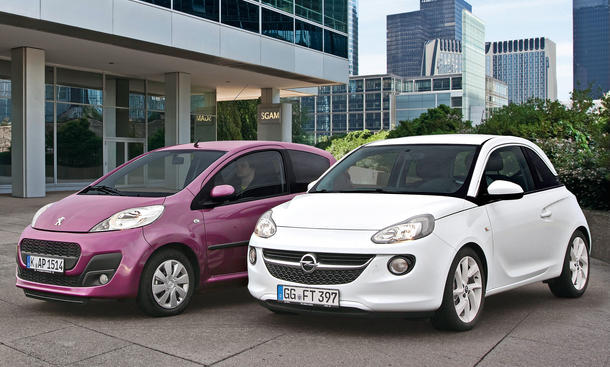Bilder Opel Adam Peugeot 107 Markenvergleich