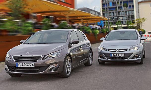 Bilder Opel Astra Peugeot 308 Markenvergleich