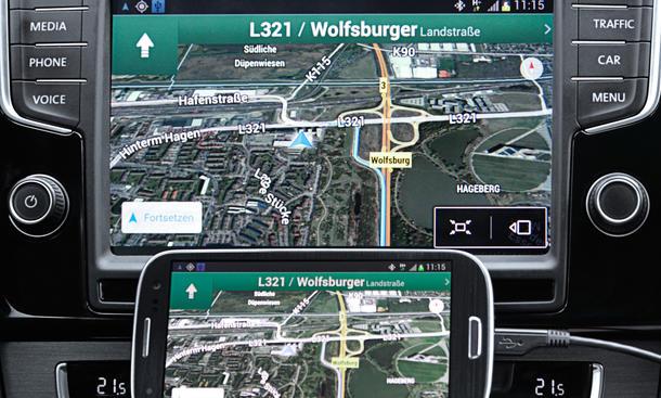 VW Infotainment MirrorLink Smartphone Verbindung Apps