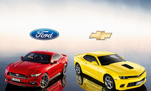 Ford Mustang Chevrolet Camaro Vergleich Bilder technische Daten