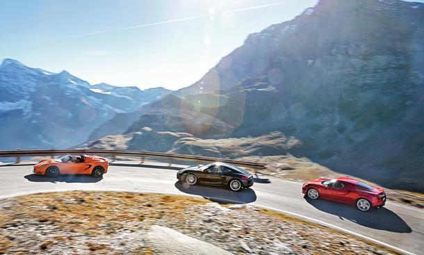 Alfa Romeo 4C Lotus Elise S Porsche Cayman Sportwagen Bilder technische Daten Faszination Auto