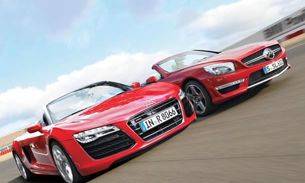Audi R8 V10 Spyder Mercedes SL 63 AMG Bilder technische Daten Markenvergleich
