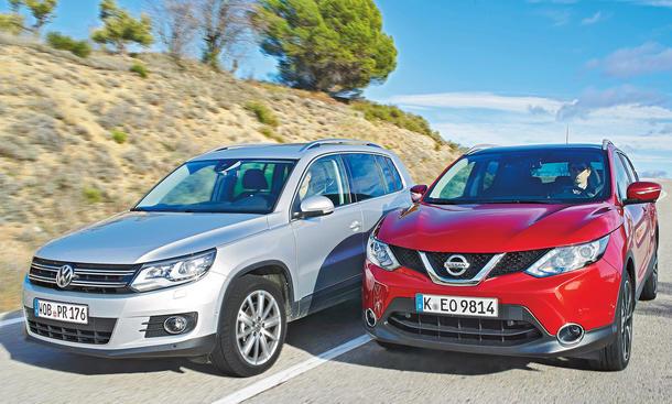 Nissan Qashqai VW Tiguan Vergleich Bilder technische Daten
