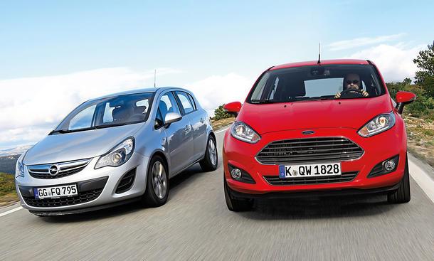 Bilder Ford Fiesta Opel Corsa Kompaktklasse Marken-Vergleich