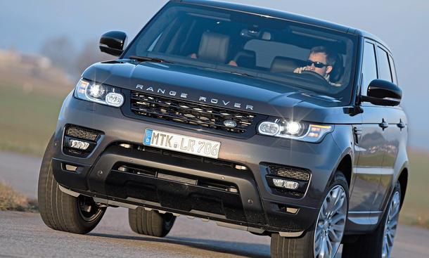 Bilder Range Rover Sport V8 Supercharged SUV-Vergleich Kurvenlage